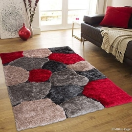 """Allstar Red Geometric Thick Area Rug (4' 11"""" x 6' 11"""")"""