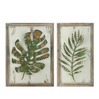 "Set of 2 Rustic and Distressed Forest Green Leaf Framed Wall Plaques 19"" - Brown"