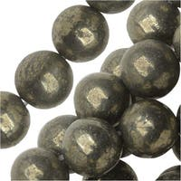Dakota Stones Gemstone Beads, Pyrite Fool's Gold, Round 8mm, 8 Inch Strand