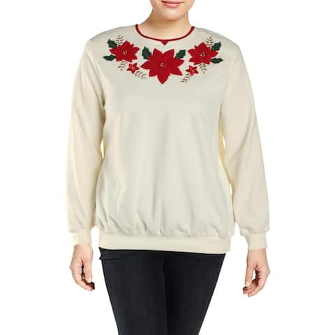 Alfred Dunner Womens Plus Sweatshirt Fleece Poinsettia