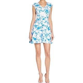Aqua Womens Babydoll Dress Stretch Floral Print