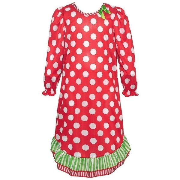 aaa93be3b Shop Laura Dare Little Girls Red Green Polka Dot Stripe Trim Nightgown -  Free Shipping On Orders Over  45 - Overstock.com - 19293386