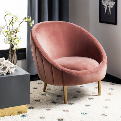 """SAFAVIEH Couture Razia Channel Tufted Tub Chair- Dusty Rose / Gold - 32.1"""" W x 30.3"""" L x 1.5"""" H"""