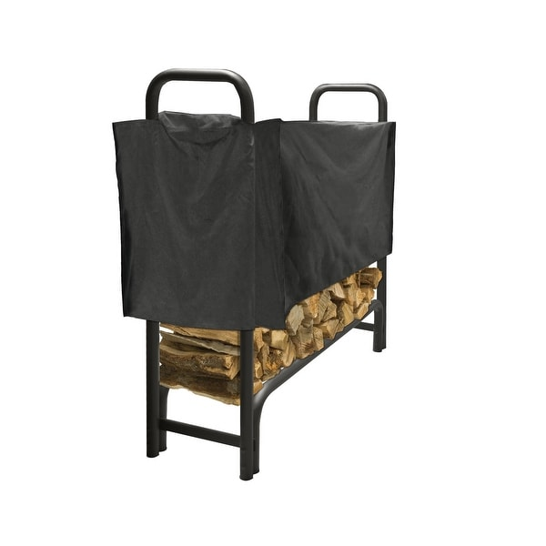 Pleasant Hearth LS938-48SC Outdoor Steel Log Rack with Weather-Resistant Half Cover, 4-Feet Long with 1/4-Cord of Wood Storage