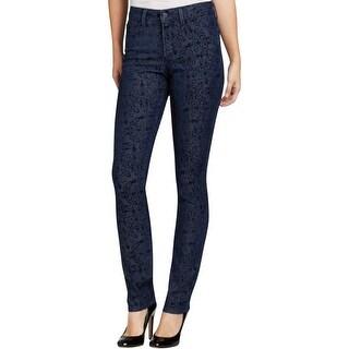 NYDJ Womens Petites Straight Leg Jeans Denim Printed