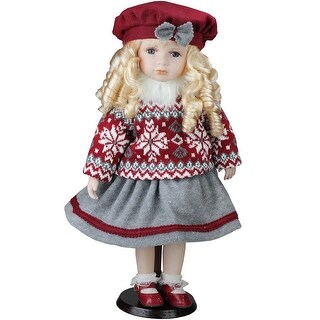 """17.5"""" Porcelain """"Becca"""" in Red Beret Standing Collectible Christmas Doll"""