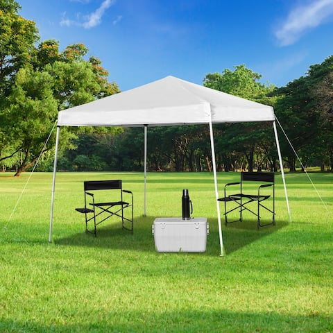 8'x8' Weather Resistant Easy Pop Up Slanted Leg Canopy Tent with Carry Bag - 8x8