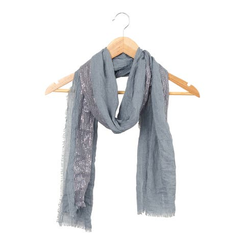 Tickled Pink Feather Fringed Sparkle Stripe Scarf