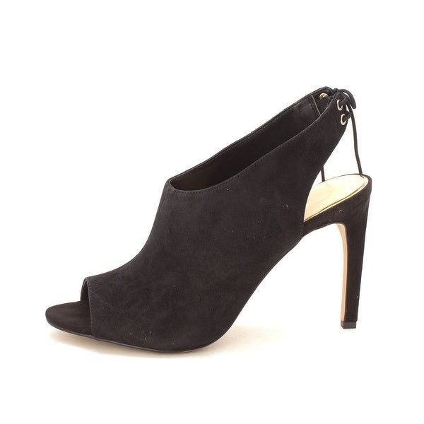Jessica Simpson Womens candine2 Leather Open Toe, Black suede, Size 8.5