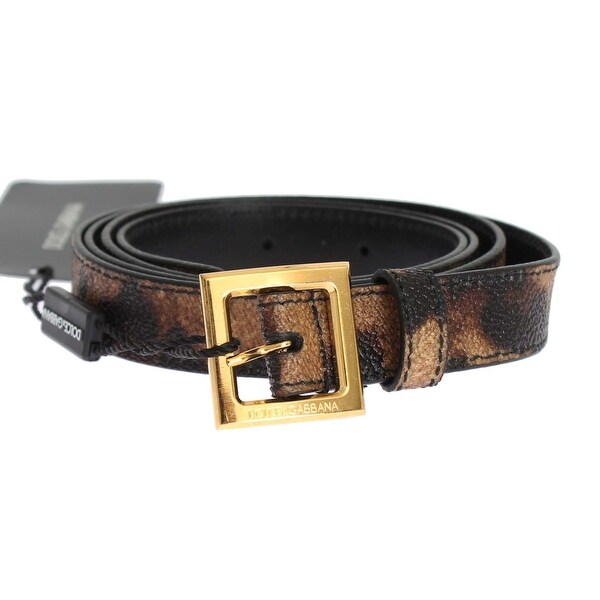 Dolce & Gabbana Brown Leopard Print Gold Buckle Belt - 95-cm-38-inches