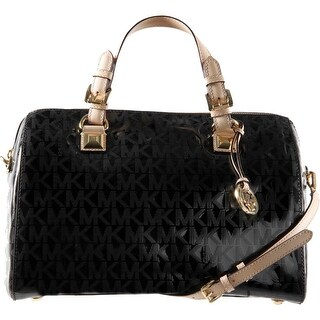 MICHAEL Michael Kors Womens Grayson Mirror Metallic Convertible Satchel Handbag - Large