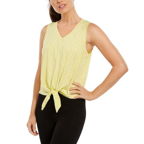 Ideology Women's Striped Tie-Front Tank Top Yellow Size Extra Small - X-Small