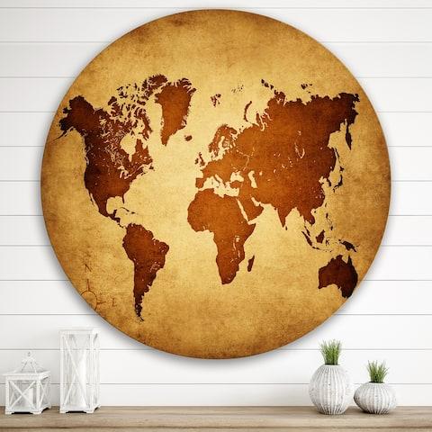 Designart 'Ancient Map of The World VI' Vintage Metal Circle Wall Art