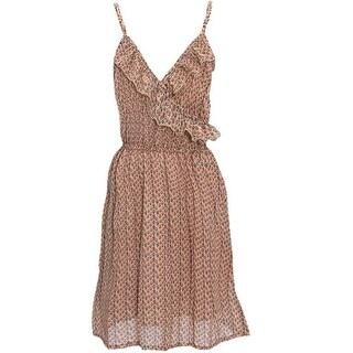 Ko Ko Ailis Girls Brown Tan Patterned Wrap Style Neck Dress 8-16
