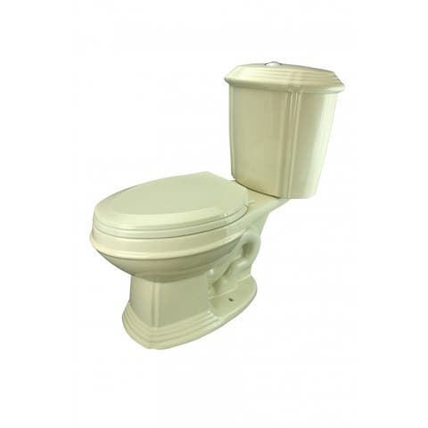 Biscuit China Dual Flush Toilet Two-Piece Elongated Seat Renovator's Supply