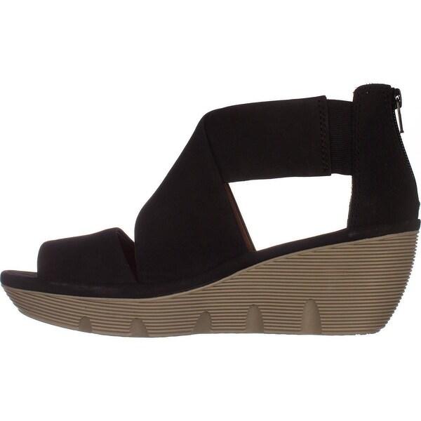 Shop Clarks Clarene Glamor Comfort Wedge Sandals, Black