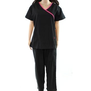 Greentown NEW Black Pink Womens Size Large L Surplice Scrubs Pant Sets