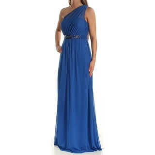 ADRIANNA PAPELL Womens Blue Embellished Sleeveless Asymetrical Neckline Full-Length Fit + Flare Prom Dress Size: 2