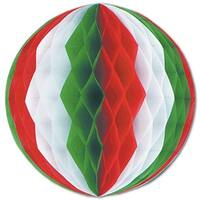 """Club Pack of 24 Red, White and Green Honeycomb Hanging Tissue Ball Decorations 12"""" - Red"""