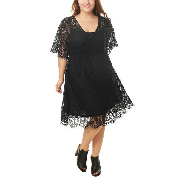 Allegra K Women's Plus Self Tie Waist Floral Lace Wrap Front Dres - Black