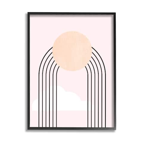 Stupell Industries Modern Geometric Rainbow Arch Lines Pink Sky Sun Framed Wall Art