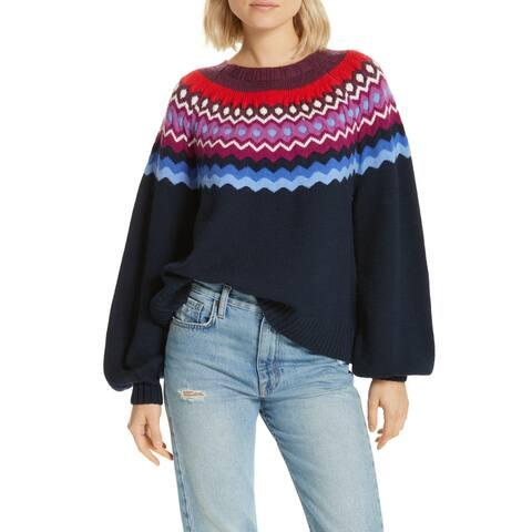 Joie Women's Navy Blue Size Medium M Karenya Crewneck Wool Sweater