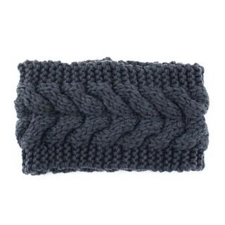 Twist Braided knitted Head Wrap Hair Band Sports Ski Headband Dark Gray