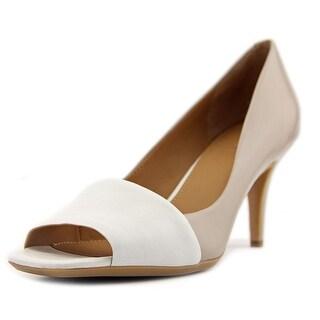 Calvin Klein Nareen Women Peep-Toe Leather Gray Heels