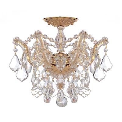 Maria Theresa 3 Light Clear Crystal Gold Semi-Flush - 13.5'' W x 11.5'' H