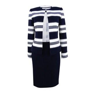 Tahari ASL Women's Striped Contrast Skirt Suit - NAVY/WHITE