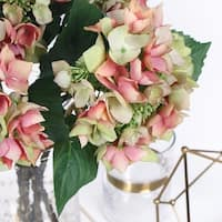 "G Home Collection Luxury Silk Hydrangea with Seeds Stem in Green Pink 19"" Tall"