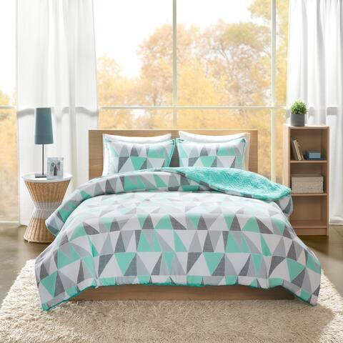 Haley Printed Reversible Comforter Mini Set 2-Color Option by Intelligent Design