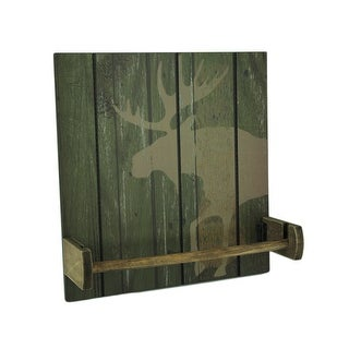 Rustic Wood Wildlife Hanging Paper Towel Holder - 13.5 X 13 X 4 inches