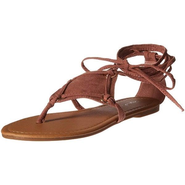 3f232fcf87c16 Shop Qupid Women s Thong Lace up Flat Sandal - Free Shipping On ...