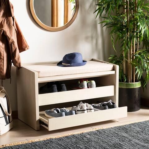 "SAFAVIEH Percy Shoe Storage Bench -White Washed / Beige - 33.8"" x 17.5"" x 20.6"""