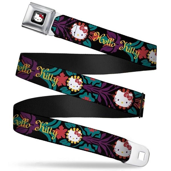 Hello Kitty W Red Bow Full Color Black Hello Kitty Script Face Flowers Seatbelt Belt