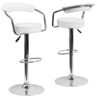 Belleze 2 Faux Leather Modern Adjustable Swivel Barstools Hydraulic Chair Bar Stools, White