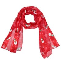 CTM® Women's Holiday Christmas Snowman Print Scarf - One size