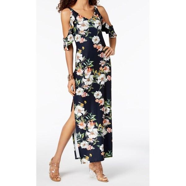 addb6b0b23cdb Shop Rachel Rachel Roy Blue Floral Print Slit Cutout Large L Maxi ...