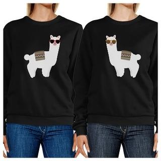 Llamas With Sunglasses Unisex Black Sweatshirts Pullover Fleece