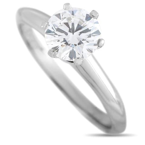 Tiffany & Co Platinum Solitaire 1.07 Carat Round Diamond Engagement Ring Size 6.25