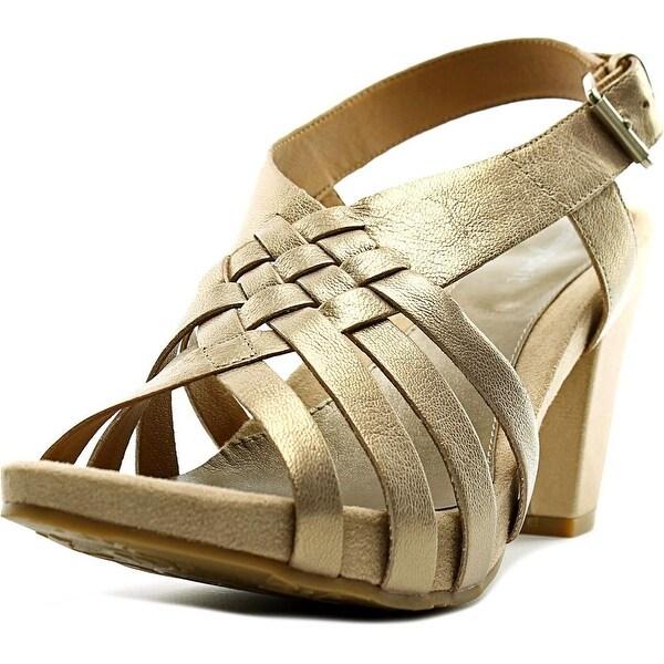 Easy Spirit Renasi Women W Open Toe Leather Gold Sandals