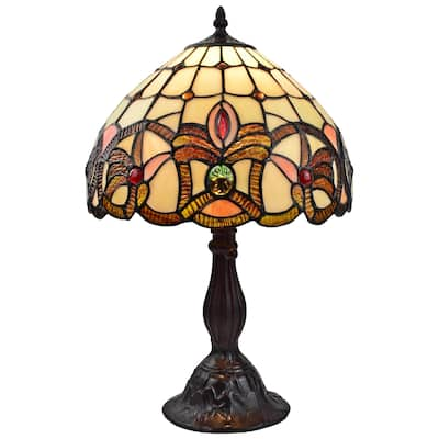 """Tiffany Style Table Lamp 19"""" Tall Stained Glass Tan Decor Night Stand Bedroom Night Stand Handmade Gift AM336TL12 Amora Lighting"""