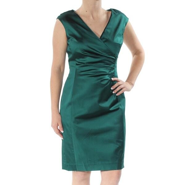 RALPH LAUREN Womens Green Gathered Cap Sleeve V Neck Knee Length Body Con Formal Dress Size: 16