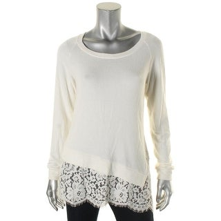 Red Haute Womens Pullover Top Modal Blend Lace Trim