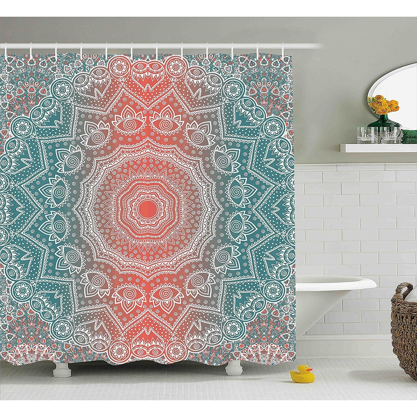 Shop Black Friday Deals On Motif With Floral Coral And Teal Shower Curtain Overstock 24322411