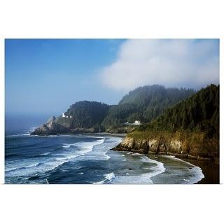 """Coastal Scene In Mist With Heceta Head Lighthouse"" Poster Print"