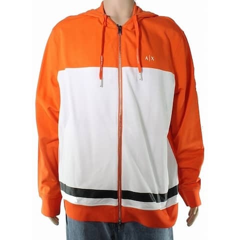 Armani Exchange Mens Sweater White Orange Size XL Zip Front Hooded