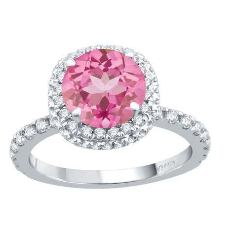 Sterling Silver with Pink Topaz and White Topaz Double Halo Ring