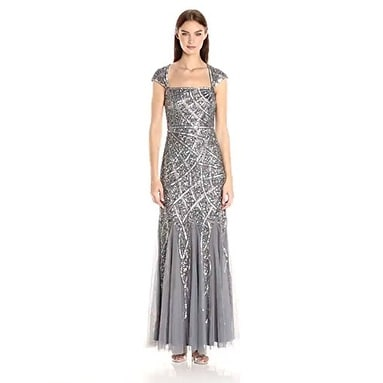 Shop Adrianna Papell Women's Cap Sleeve Envelope Beaded Gown, STERLING, 10M - Sterling - Free Shipping Today - Overstock.com - 18848912